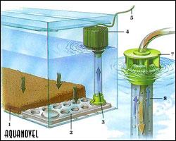 Diagrama de funcionamiento de un filtro biológico de placa