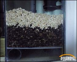 Sustrato tipo jaubert o Plenum donde se puede apreciar la diferente granulometría de las capas.